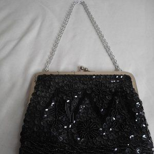 Vintage Hand Made Clutch bag Purse Black beaded